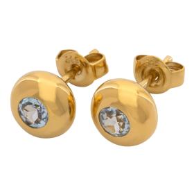 Paar stilvolle Aquamarin-Ohrstecker in 333er Gold