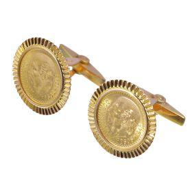 Unisex-Manschettenknöpfe mit jeweils einer kleinen mexikanischen Goldmünze geziert von einer schönen 18-karätigen Gelbgoldfassung.