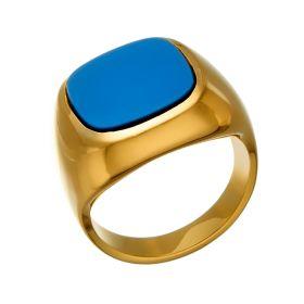Herrenring in 14-karätigem Gelbgold. Der Ringkopf des Siegelringes fasst einen hellblauen Lagenstein.