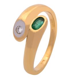 Smaragdring in 585er Gold mit Brillant