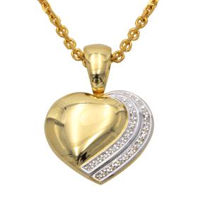 Clip Anhänger Herz mit Diamanten – inkl. Ankerkette