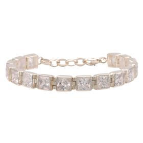 Silbernes Armband mit quadratischen Zirkonias